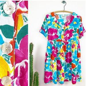 VTG 90s Marina Bay Tropical Floral Babydoll Dress